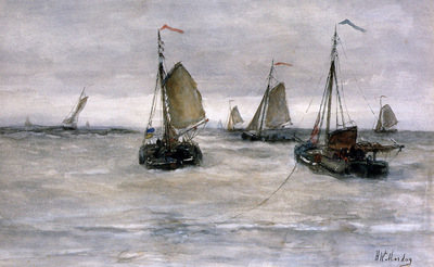 Mesdag Hendrik Willem Ships on a choppy sea Sun