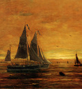 Mesdag Hendrik Willem Boats At Dusk Sun