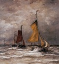 Mesdag Hendrik Willem Return fishing ships Sun