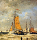 Mesdag Hendrik Willem Sailing Pinks At Scheveningen Sun