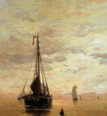 Mesdag Hendrik Willem Ships On A Calm Sea Near The Coast Sun