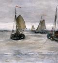 Mesdag Hendrik Willem Ships on a choppy sea Sun