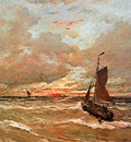 Mesdag Hendrik Willem Sunset In Stormy Weather Sun