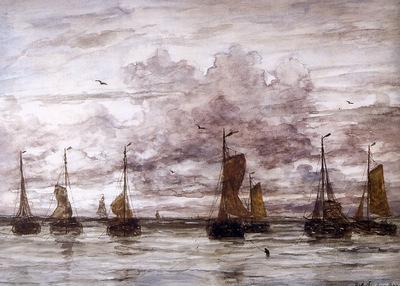 Mesdag Willem Hendrik Ships on anchor Sun