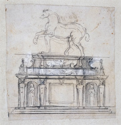 Michelangelo Design for a statue of Henry II of France on horseback