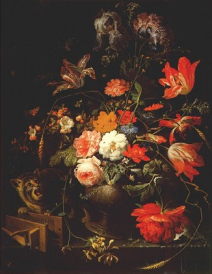 mignon still life with flowers cat and mousetrap c1670