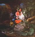mignon flowers birds insects and reptiles in a cave c1675