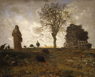 Autumn Landscape with a Flock of Turkeys MMA