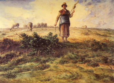 Millet Jean Francois A Shepherdess And Her Flock