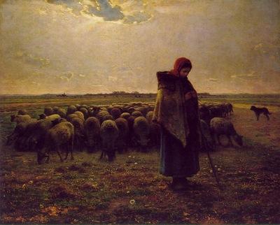 Shepherdess with Her Flock ATC