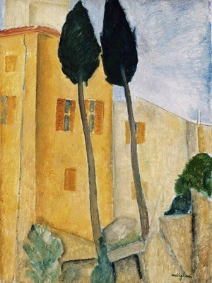Modigliani Cypress Trees and Houses, Barnes foundation