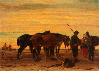 Moerenhout Joseph Jodocus Fishermen With Their Horses On The Beach