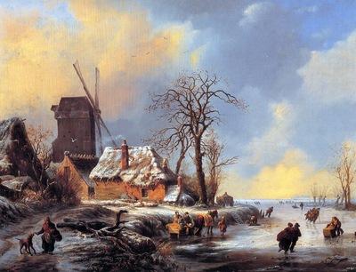 Moerman Albert Winter landscape Sun