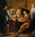 Molenaer Jan Miense Card players at candlelight Sun