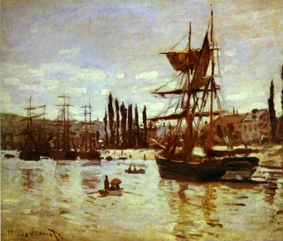 Claude Monet Ships at Rouen