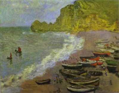 Claude Monet The Beach at Etretat