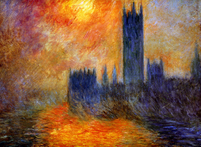 Monet Claude House of Parliament Sun