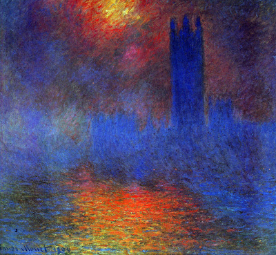 Monet Claude London Parliament Sun