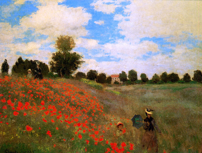 Monet Claude Rose field near Argenteuil Sun