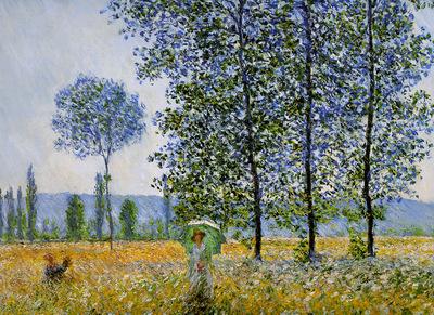 Monet Claude Sunlight effect poplars Sun