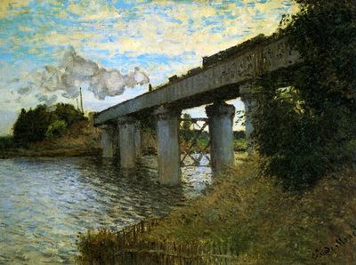 Monet Claude The rail bridge Sun