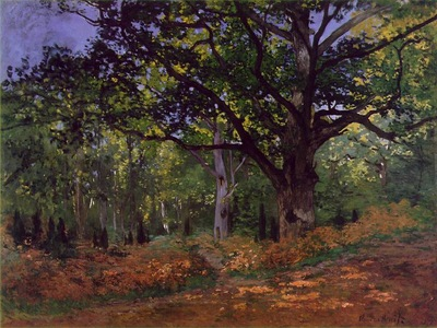 monet the bodmer oak, fontainebleau forest, 1865, 96 2x129
