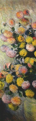 monet vase of dahlias