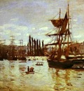 Claude Monet Ships at Rouen