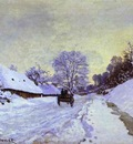 Claude Monet The Cart; Snow Covered Road at Honfieur, with Saint Simeon Farm