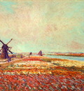 Monet Bulbfield and Windmill Near Leyden