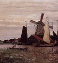 Monet Claude A Windmill at Zaandam