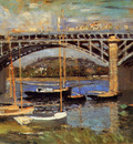 Monet Claude Bridge over the Seine Sun