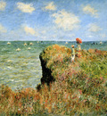 Monet Claude Stroll at the rocks of Pourville Sun