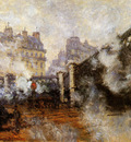 Monet Claude The Europa bridge at Saint Lazare Sun