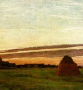 Monet Haystacks at Chailly at sunrise, 1865, 30x60 cm, San D