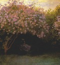 monet lilacs overcast weather