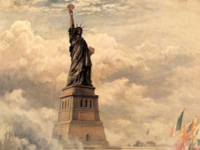 JLM 1886 Edward Moran Statue of Liberty Enlightening the Wor
