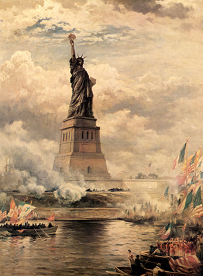 JLM 1886 Edward Moran Statue of Liberty Enlightening the Wor1