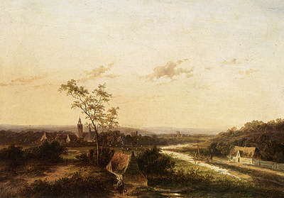 Morel Jan Evert An Extensive Summer Landscape With A Town In The Background