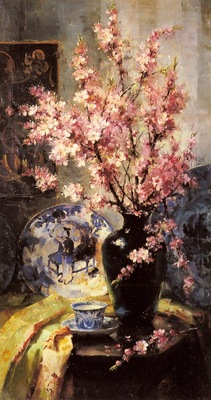 Mortelmans Frans Apple Blossoms And Blue And White Porcelain On A Table