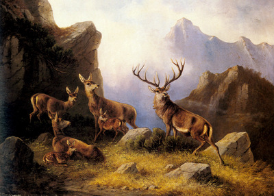 Muller Moritz Deer In A Mountainous Landscape