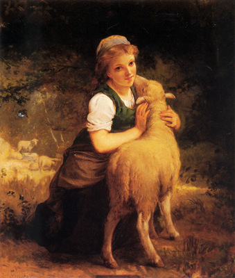 Munier Young Girl with Lamb