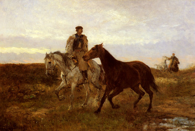 Munkacsy Michel Lieb Leading The Horses Home At Sunset