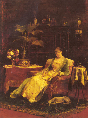 Munkacsy Mihaly A Lady Seated In An Elegant Interior