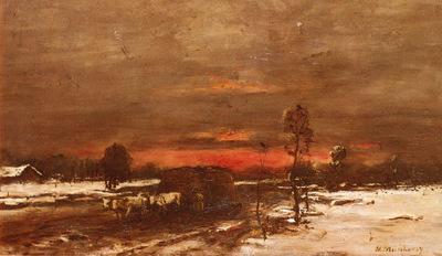 Munkacsy Mihaly A Winter Landscape At Sunset