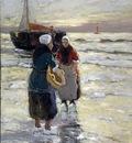 Munthe Gergard Fisherwomen near a ship Sun