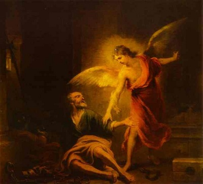 Bartolome Esteban Murillo Angel Rescues St  Peter from Prison
