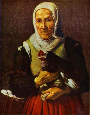 Bartolome Esteban Murillo Old Woman with a Hen