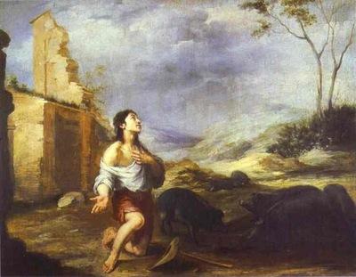 Bartolome Esteban Murillo The Prodigal Son Feeding Swine
