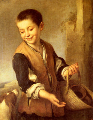 Murillo Bartolome Estaban Urchin With A Dog And Basket